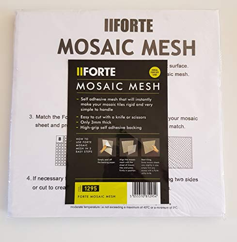 Forte Mosaic Mesh self Adhesive Tile Backing – Simple – Easy – High Grip for Tiles – Pack of 11 Sheets of 300x300mm Sheet Makes 1smq of Tiles