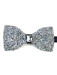 Rhinestone covered Bow tie Silver colour