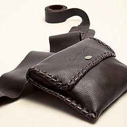 Bolso Riñonera artesanal de piel napa-Marrón-Doble bolsillo-Cintura ajustable-Unisex