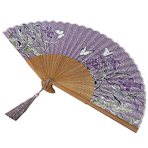 g Hand Fan Hochzeit Tanzparty Prom Purple Lily Fan ()