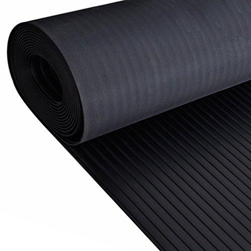 Preisvergleich Produktbild Festnight Gummi Bodenmatte Bodenschutzmatte Gummimatte Antirutsch Matte 5x1 m Breites Rippstrickbündchen Stil Schwarz