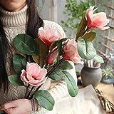 huichang Unechte Blumen Magnolie, 1 Strauß Künstliche Magnolie Blumen zur Dekoration Haus Garten Party Blumenschmuck (Rosa)