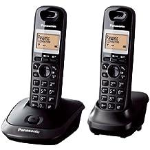 Panasonic KX-TG2512FXT - Kit de 2 teléfonos fijos digitales inalámbricos (DECT, auricular, LCD, AAA, escritorio), negro