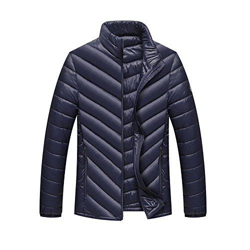 tand Slim Fit Mantel Zip Gute Qualität Outwear Daunen Ultra Light Jacke Steppjacke mit Kapuze Outdoor Daunenjacke Winterjacke Leicht Duenn Daunenmantel Down Jacket (XL, Navy) (Gesteppte Faux Leder Moto Jacke)