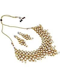 Andaaz Bollywood Inspired Designer Golden Kundan Necklace Set With Earring For Woemen And Girls