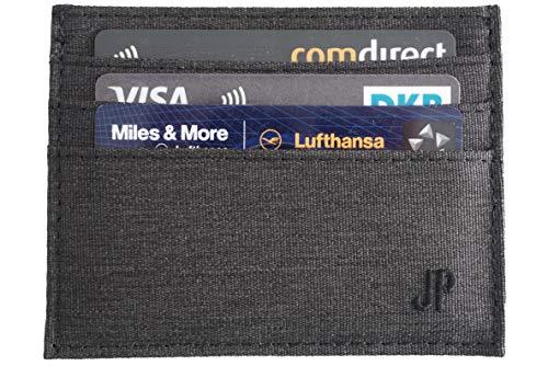 JP Journey Kartenetui 6 Fächer mit Geldscheinfach, Schmaler Kartenhalter Herren Damen Mini Geldbörse Portemonnaie Flaches Slim Wallet Grau - Flache Geldbörse
