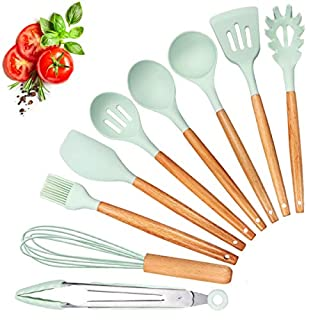 Kitchen Utensils Set, Haipei 9Pcs Silicone Cooking Utensils Spatula Utensil Set Silicone Kitchen Utensils, Safe Food Grade Silicone with Premium Wood Handles, Great Kitchen Tools for Gift, Green