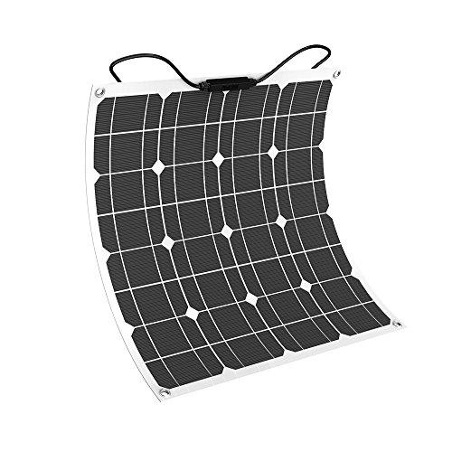 Giaride Solarmodul 18V 12V 50W Solarpanel Monokristallin Solarzelle Photovoltaik Solarladegerät Solaranlage Flexibel mit MC4 Ladekabel für Auto Batterie, Wohnmobil, Boot, 12V Batterien