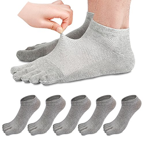 Fünf Finger, Die (REKYO 5 Paare Männer Zehen Socken Low Cut fünf Finger Socken weichen und atmungsaktiven niedrig geschnittene Baumwollsocken für Männer (Grau))