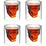 Epyz Skull Shot Glass,Crystal Glasses,Double Layer Transparent Skull Pirate Shotglasses Drink Cocktail Beer Cup,Wine Cup,Drinking Ware Mugs,Thick Base Creative Halloween Mug (4, 60ml)