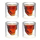 Emerge Skull Shot Glasses - Set of 4 Crystal 3D 2.5 Ounce Fun Pirate Head Shot Glass