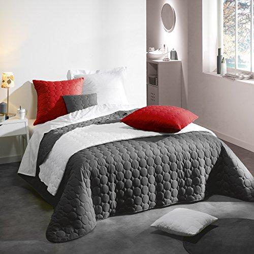 Douceur d'Intérieur Couvre-Lit Mat Microfibre/Polyester Uni Candy Anthracite 220 x 240 x 240 cm