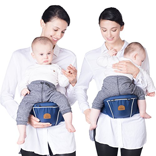 Bebamour Hipseat Baby Carrier Backpack 5 in 1 Carry Ways Carrier Sling (Dark Blue)