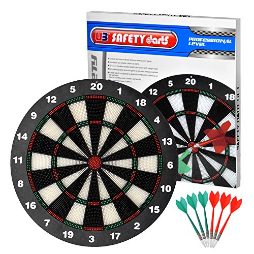 Wuudi Soft Tip Safety Darts And Dart Board By Professional Dartboard Set  Great Games For Kids
