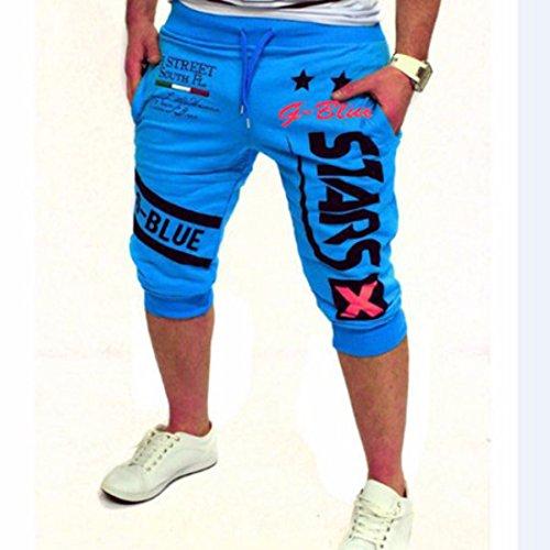 Men's Harem Hombre Cotton Slim Casual Shorts 13DK09 Lake Blue