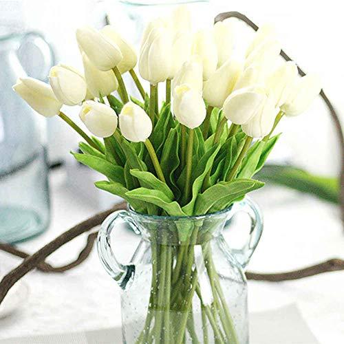 Unechte Blumen,Künstliche Deko Blumen Gefälschte Blumen Blumenstrauß Seide Tulpe Wirkliches Berührungsgefühlen, Braut Hochzeitsblumenstrauß für Haus Garten Party Blumenschmuck 10Stück Weiß