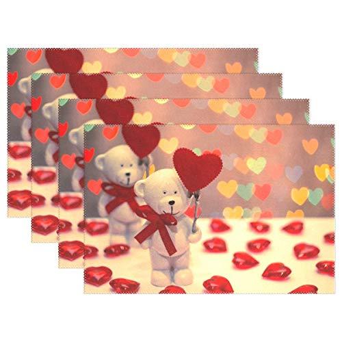 Promini resistente al calore tovagliette, san valentino orso cuore lavabile poliestere tovagliette slittamento non lavabile per cucina sala da pranzo set di 4