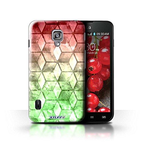 Kobalt® Imprimé Etui / Coque pour LG Optimus L7 II Dual / Jaun/Vert conception / Série Cubes colorés Rouge / Vert