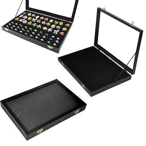 amzdeal® Présentoir/ Coffret et Boîte à Bijoux pour 100 bagues Plateau pour bagues avec couvercle