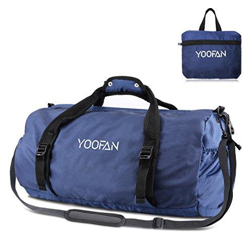 YOOFAN 40L Borsone Sportivo, Borsone da Palestra Pieghevole, Sacca da Viaggio per il Weekend per Donne e Uomini (Blu Scuro)