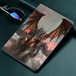 """Fantasy World Coque pour iPad 9,7"""" Motif Dragon à Trois têtes Motif Monstre Gothique Marron Gris pivotant à 360 degrés"""
