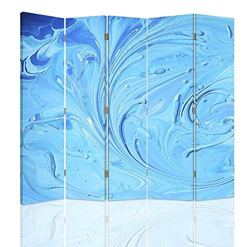 Feeby - Raumteiler - Trennwände - Foto Paravent - Spanische Wand - Bedruckt aufLeinwand - Trennwand - Deko Design - Paravent Beidseitig - 5 teilig - 360° - 180x150 cm - Color Abstract Blue