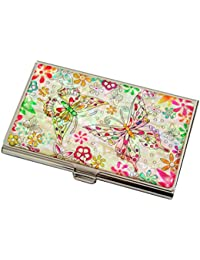 Mother of Pearl Butterfly Flower Design Womens Business Credit Name ID Card Holder Case Metal Stainless Steel Engraved Slim Purse Pocket Cash Money Wallet