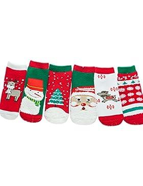 Zoylink 6 Paare Kinder Weihnachtssocken Winter Warme Socken Cartoon Baumwollsocken für Baby Kleinkinder (Zufälliger...