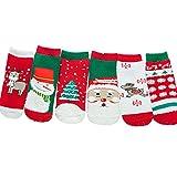 Zoylink 6 Paare Kinder Weihnachtssocken Winter Warme Socken Cartoon Baumwollsocken für Baby Kleinkinder (Zufälliger Stil)