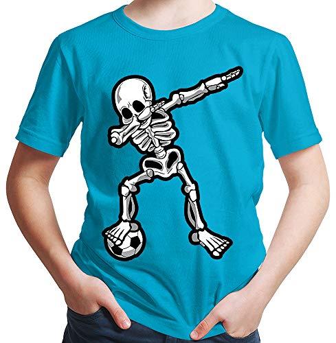 HARIZ  Jungen T-Shirt Dab Skelett mit Fussball Dab Teenager Dance Weihnachten Plus Geschenkkarten Azur Blau 116/5-6 ()