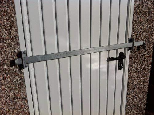 Barrera de bloqueo para cobertizo de jardín, de fábrica, puerta de oficina, seguridad – acero resistente – acabado galvanizado (1200 mm)