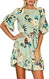 ECOWISH Blumenkleid Damen Sommerkleider Kurzarm Rundhals Kleid Strandkleider A-Linien Partykleid Minikleider mit Gürtel Grün S