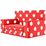 2 in 1 Childrens Sofa Bed in Flaming Red with White Polka