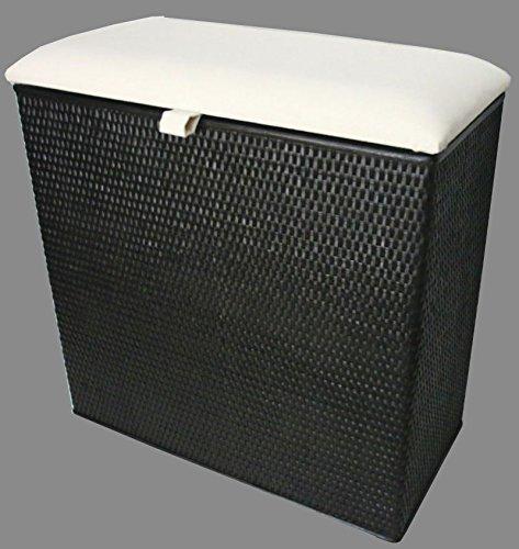 Wäschekorb 3 Fach Sortierer Sitzhocker Rattan schwarz mit drei Fächern Made in Germany -