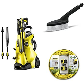 Karcher K4 Full Control Pressure Washer with Hose Connection Set For Pressure Washers and Universal Brush - Yellow/Black