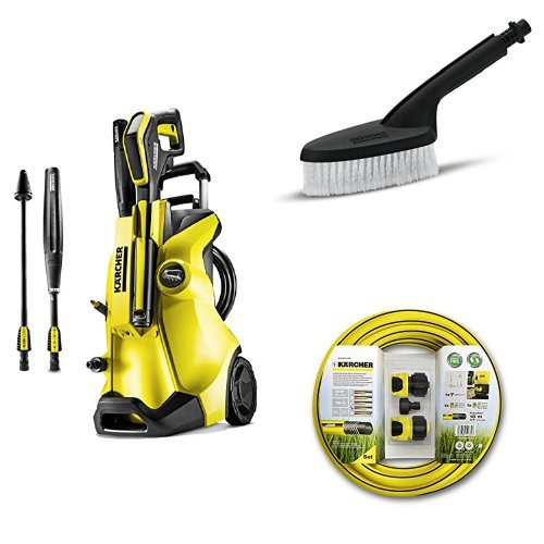 Karcher K4 Full Control Pressure Washer with Hose Connection Set For Pressure Washers and Universal Brush – Yellow/Black