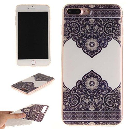 iPhone 7 Plus Custodia Slim Leggero Flessibile TPU Immagine Fiore Fucsia Case per Apple iPhone 7 Plus 5.5 Bianca Colore-9
