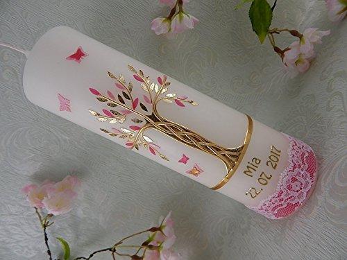 Kerze zur Geburt Taufe Kommunion Hochzeit Lebensbaum rosa mit Spitze Mädchen 250/70 mm inkl. Beschriftung