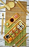 Sushi Making Kit 11 Pcs - Bamboo Sushi Rolling Mat and Serving Set - Make Your Own Sushi at Home - 2 Mats, 5 Pairs Chopsticks with Bag, Paddle, Spreader, Serving Platter, Triplet Sauce dish with Ebook