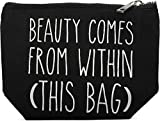 styleBREAKER Statement Beautybag mit 'BEAUTY COMES FROM WITHIN' Aufdruck, Kosmetiktasche, Make Up Bag, Tasche, Damen 02013006, Farbe::Schwarz