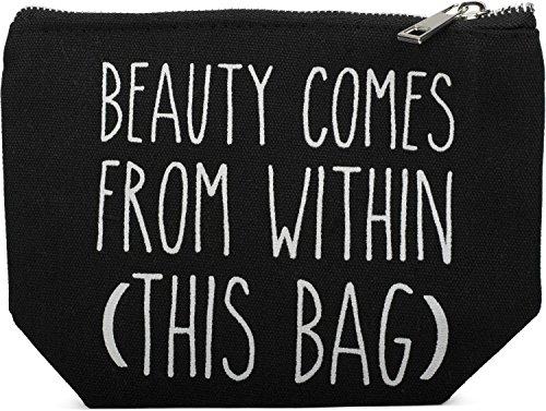styleBREAKER Statement Beautybag mit \'BEAUTY COMES FROM WITHIN\' Aufdruck, Kosmetiktasche, Make Up Bag, Tasche, Damen 02013006, Farbe::Schwarz