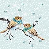Servietten Weihnachten Winter Motiv Schal Vögel 20er Cocktail 3-lagig 25x25cm