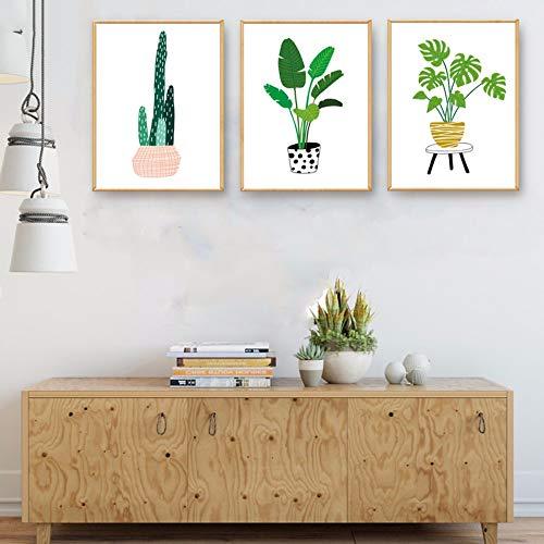 Cartone animato Piante tropicali Cactus Tela Pittura Arte Hd Stampa Foglie Poster Acquerello Immagini Pop parete Camera dei bambini Decor No Frame 50x70cm