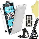 BAAS® Nokia Lumia 520 White PU Leather Flip Case Pouch Cover , Screen Protector Film & Stylus Pen