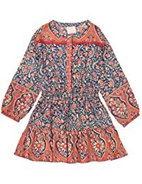 Masala Baby Little Girl's Gemma Dress Blue Jasmine