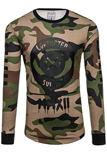 BOLF Herren Sweatshirt Langarmshirt Pullover Sweatjacke Pulli Camo Mix 1A1 Motiv Khaki