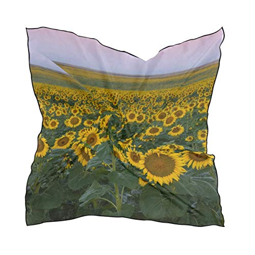 Aeykis Womens Sunflowers And Rainbow Silk Feeling Quadratischer Schal Satin Neck Scarves Head Hair Wraps Lady Trapper