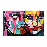 WYKUN Rahmenlose Ölgemälde, Moderne minimalistische Reine handgemalte dekorative Gemälde für Wohnzimmer, Kleine Größe Camouflage Gesicht Wandmalereien,A_7in*10in