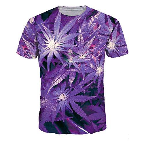 Dotbuy Camiseta 3d Hombre, Unisex 3D Digital Impreso Personalizado Manga Corta Camisetas Tees Tops Playa de Verano de Manga Corta (L, Marihuana morada)