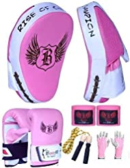 BOOM Ladies Pink Punch mitts Focus Pads Boxing Set MMA Bag Gloves (FREE UK SHIPPING)